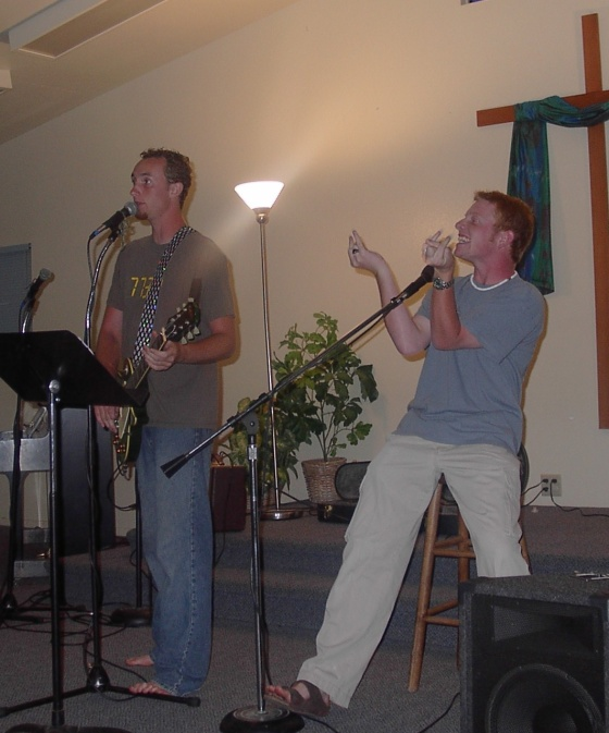Jesse and Paul rocking out at Youth Group