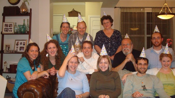 Group picture in party hats!