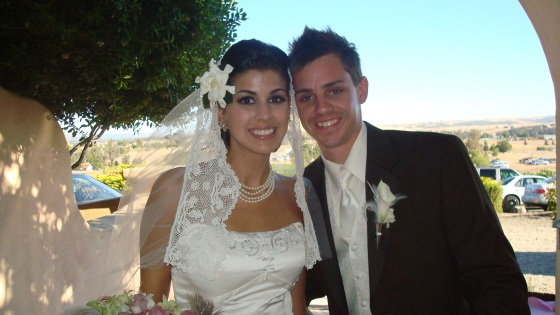 The gorgeous couple. How STUNNING is Heidi's veil? She looks like a Spanish Princess! In actuality, she's Irish!