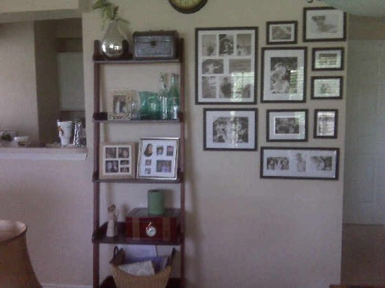 One view of the shared wall between the dining and living room