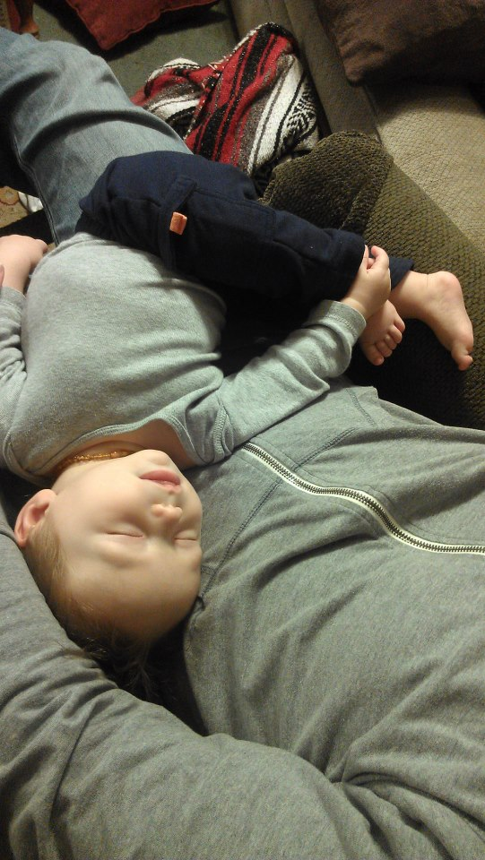 AJ funny sleep position dadda's lap