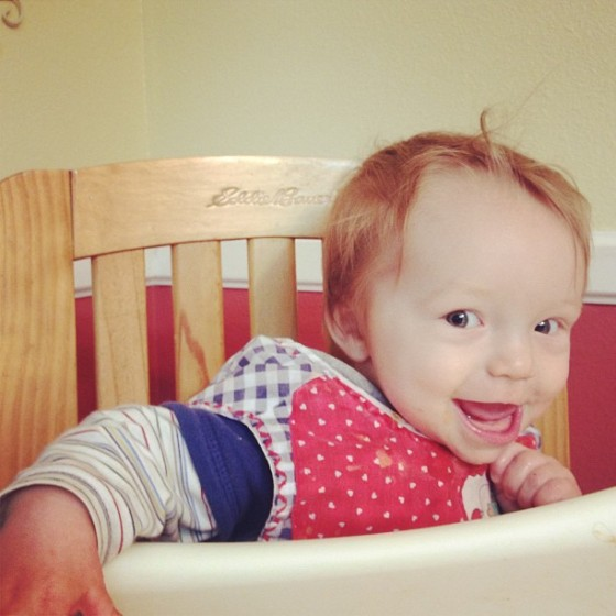 Anthony in highchair 9 months