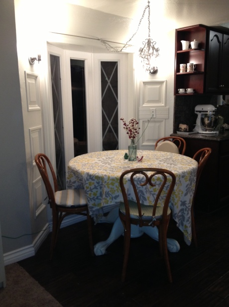 dining room progress, night