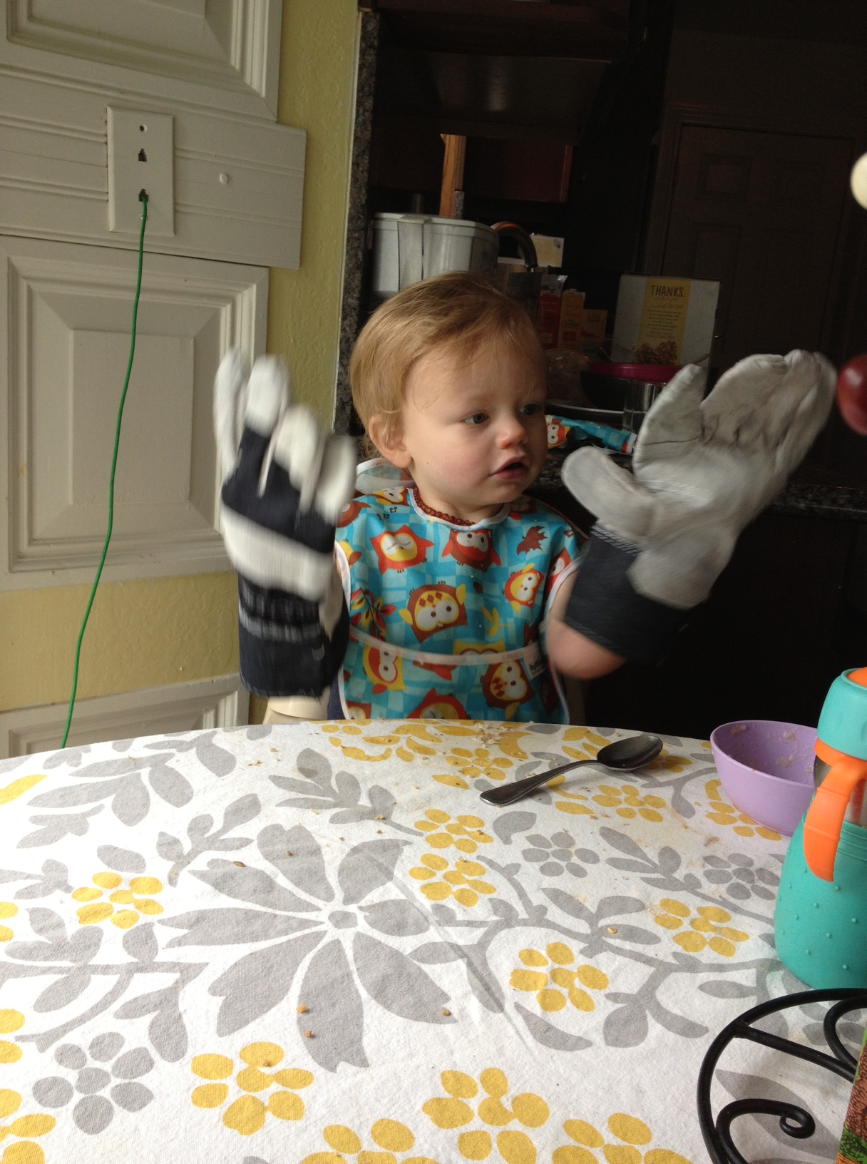 Gregory with Dadda's gloves March 2013