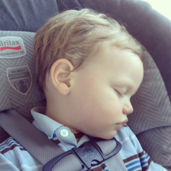 Gregory asleep in carseat April 2013