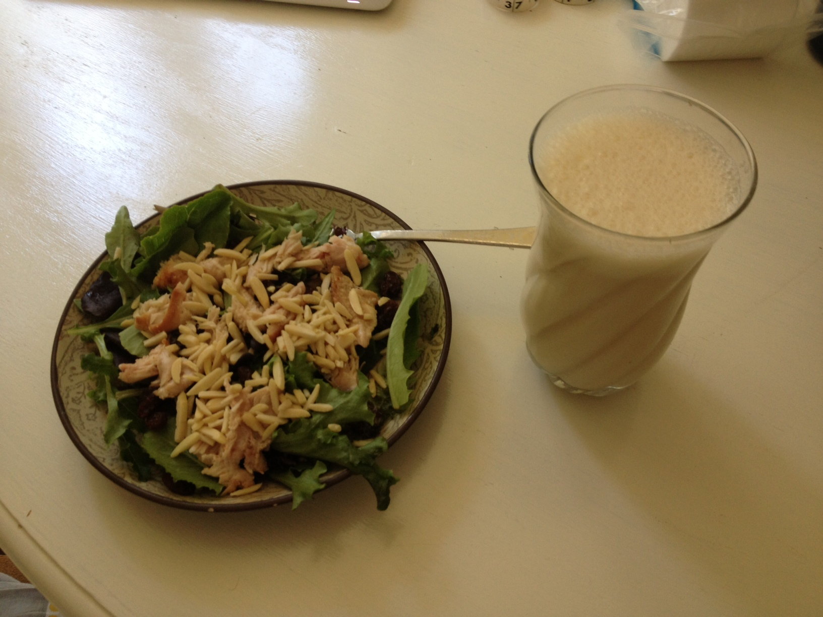 Chicken/almonds/raisins salad, plus an almond milk protein shake