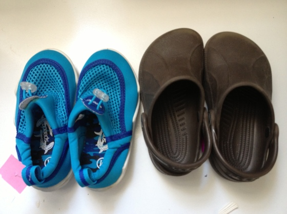 Water shoes and crocs for G, just in time for Big Sur!