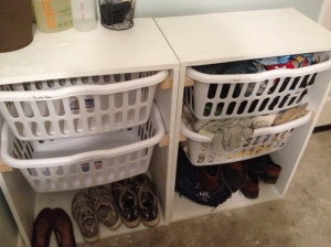 We have the option of putting the last 2 baskets on the bottom, but I'm wondering if it would be better for shoes?