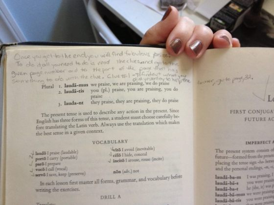My old Latin Book from Junior High-- I created a treasure hunt for myself!
